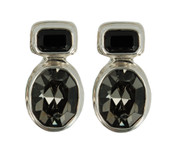 Swarovski Jet & Black Diamond Post Earrings