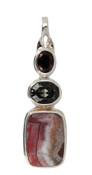 Crazy Lacy Agate, Swarovski Black Diamond & Burgundy Pendant