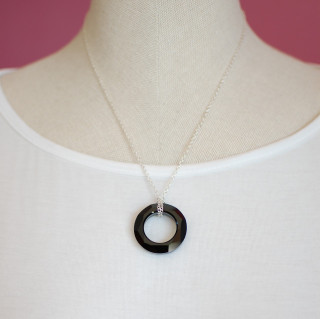 Cosmic Ring Necklace in Sterling Silver Jet (Black)