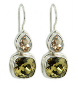 Swarovski Golden Shadow & Khaki Crystal Earrings