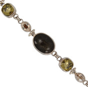 Golden Sheen Obsidian & Swarovski Crystal Bracelet