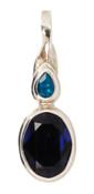Indigo & Caribbean Blue Opal Crystal Pendant