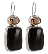 Mahoganite & Swarovski Crystal Copper Earrings