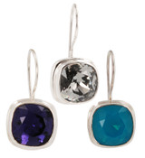 Swarovski Crystal 10mm Cushion Cut Gemstone Earrings (left to right) in Purple Velvet, Black Diamond, Caribbean Blue Opal