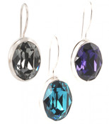 Swarovski Crystal Oval Gemstone Earrings (left to right) in Black Diamond, Indicolite, Purple Velvet