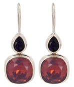 Swarovski Cyclamen Opal & Purple Velvet Earrings