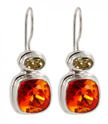 Swarovski Fire Opal & Jonquil Earrings