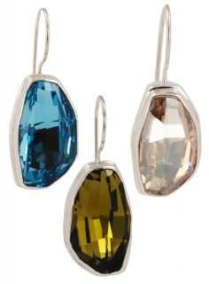 Swarovski Large Calypso Earrings (left to right) in Aquamarine, Olivine, Golden Shadow