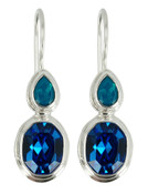 Swarovski Sapphire & Caribbean Blue Opal Earrings