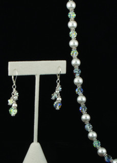 Pearl & Clear Necklace in Sterling Silver shown with Romance Cluster Earrings.