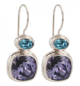 Swarovski Tanzanite & Aqua Earrings
