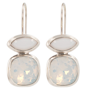Swarovski White Opal &amp; White Alabaster Earrings