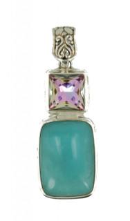 Vitrail Light Crystal & Genuine Amazonite Pendant