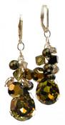 Khaki Teardrop Cluster Earrings