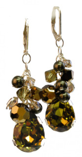 Khaki Teardrop Cluster Earrings