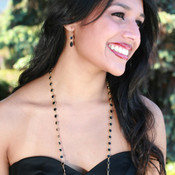 Channel Set Necklace in Gold Jet (Black) shown with the Channel Set Brio Earrings in Jet (Black).