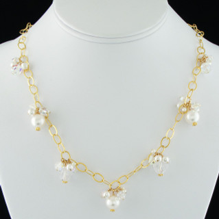 Pearl & Clear Cluster Necklace in 18K Gold Vermeil