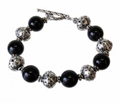 Black Pearl &amp; Silver Bracelet