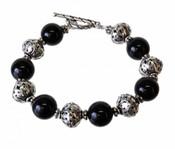 Black Pearl & Silver Bracelet