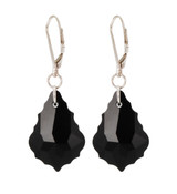 Baroque Earrings in Jet (Black) Sterling Silver