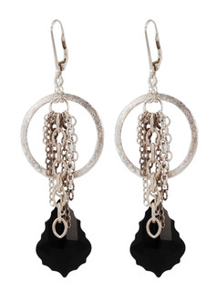 Baroque Chain Earrings in Jet (Black) Sterling Silver