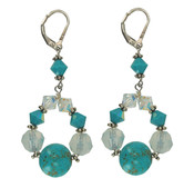 Turquoise & Crystal Loop Earrings