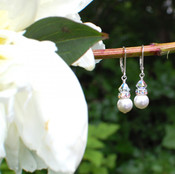 Pearl Rondelle Earrings in Sterling Silver