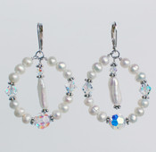 Pearl &amp; Clear Loop Earrings