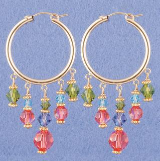 Crystal Hoop Earrings in 18k Gold Vermeil Garden