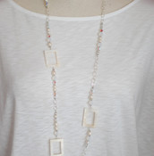 White Shell Long Necklace