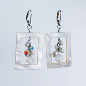 White Shell Cluster Earrings