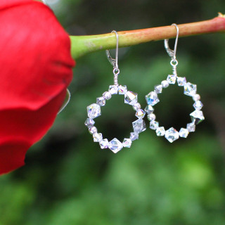Crystal Loop Earrings in Sterling Silver