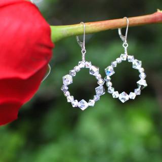 Crystal Loop Earrings in Sterling Silver