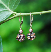 Pavé with Pearl Earrings in Gold Bronze Pearl