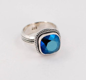 Swarovski Crystal Cushion Cut Ring in Metallic Blue