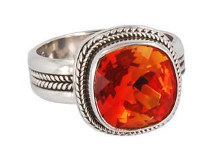 Swarovski Crystal Cushion Cut Ring in Fire Opal