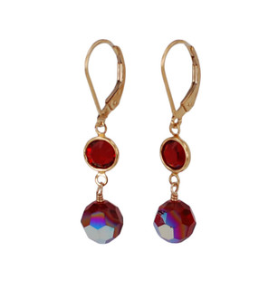 Channel Set Earrings in Gold Siam (Red)