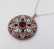 Ruby Quartz Medallion Necklace