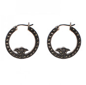 Marcasite Hoop Earrings with Side Detail