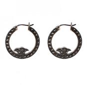 Marcasite Hoop Earrings with Side Detail