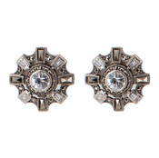 Cubic Zirconia & Marcasite Star Post Earrings