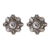 Cubic Zirconia & Marcasite Star Post Earrings