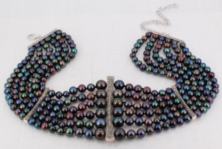 Blue Pearl Statement Necklace