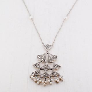 Pearl marcasite pendant necklace kazia digo jewelry pearl marcasite pendant necklace aloadofball Choice Image