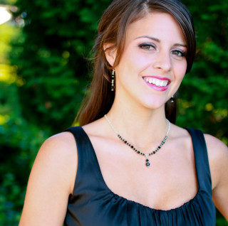 Crystal Lite Necklace in Sterling Silver Jet (Black) shown with the Crystal Dangle Earrings in Jet (Black).
