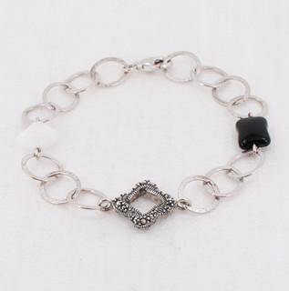 Onyx & Marcasite Chain Bracelet