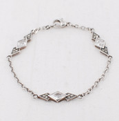 Diamond-Cut Cubic Zirconia & Marcasite Bracelet