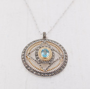 Blue Quartz Medallion Necklace
