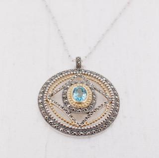 Blue Quartz Medallion Necklace