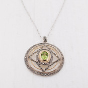 Green Quartz Medallion Necklace